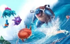 Картинка аниме, арт, битва, покемон, Janice Sung, Pokemon Battle
