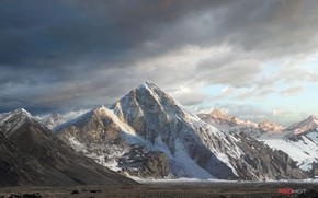 Картинка небо, снег, горы, природа, Rocket launch