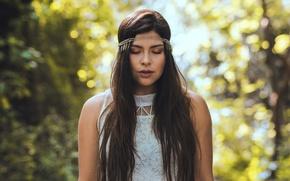 Картинка девушка, портрет, брюнетка, длинные волосы