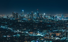 Картинка city, lights, night, streets, buildings, skyscrapers
