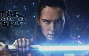 Картинка Star Wars, girl, fantasy, eyes, science fiction, movie, face, poster, Jedi, film, lightsaber, actress, sci …