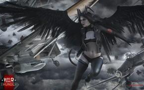 Обои angel, demones, aircraft, warthunder, hibikirus, girl