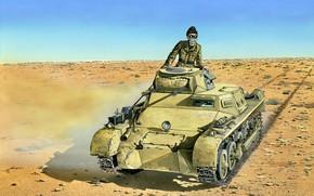 Картинка Пустыня, танк, Вторая Мировая война, лёгкий, Германский, DAK, Немецкий Африканский Корпус, Танкист, Pz.Kpfw. I