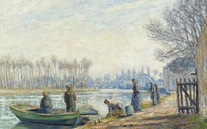 Картинка пейзаж, река, люди, лодка, картина, Francis Picabia, Франсис Пикабиа, Рыбаки в Море-сюр-Луэне