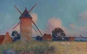 Картинка трава, облака, цветы, картина, Ferdinand du Puigaudeau, Фердинанд дю Пюигадо, Пейзаж с Ветряной Мельницей