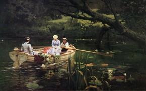 Картинка пейзаж, картина, Василий Поленов, На Лодке. Абрамцево