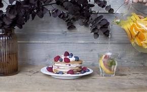 Картинка ягоды, малина, еда, черника, блины, крем, выпечка, лимонад