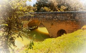 Картинка трава, солнце, деревья, мост, река, Франция, Aquitaine