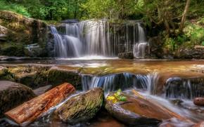 Картинка лес, камни, водопад, Уэльс, Ллансантфраед