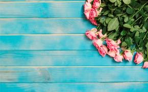 Картинка цветы, розы, розовые, бутоны, fresh, wood, pink, flowers, romantic, roses, tender