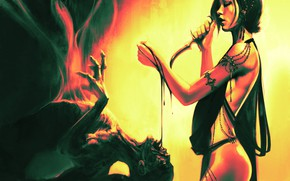 Картинка девушка, кровь, вампир, Kelvin Liew, Blood Magic