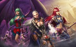 Обои девушка, крылья, меч, платье, воин, арт, маг, вампир, рыжая, ведьма