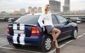 Картинка авто, взгляд, девушка, Девушки, Opel, парковка