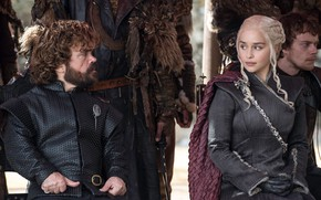 Обои Emilia Clarke, Daenerys Targaryen, actress, actor, Tyrion Lannister, Peter Dinklage, Game of Thrones