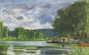 Картинка пейзаж, река, лодка, картина, Claude Monet, Клод Моне, Берега Сены возле Жёфоса
