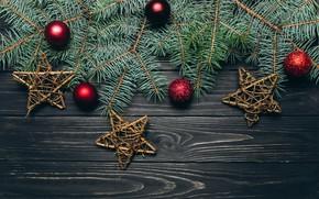 Обои здезда, ель, украшение, шары, новый год