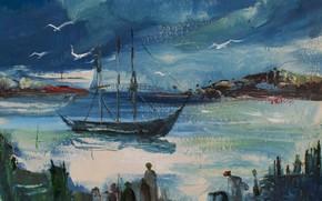 Картинка птицы, люди, лодка, Пейзаж крыма, Виктор Степушoв