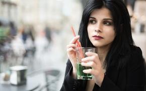 Картинка лицо, стакан, модель, напиток, Leonella