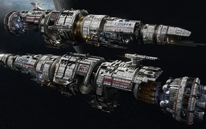 Картинка космос, планета, корабли, Fractured Space, USR Flagship