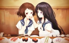 Картинка стол, школьницы, подруги, суши, японская кухня, Hyouka, Chitanda Eru, матроска, Mayaka Ibara, две девочки