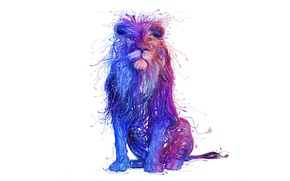 Обои стиль, краски, лев