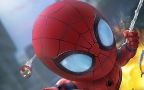 Обои Большие головы, Big heads, Web, Комиксы, Герои, Маска, Питер Паркер, Peter Parker, Superheroes, Марвел, Mask, ...