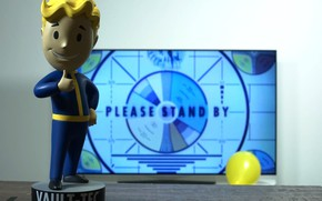 Картинка Комната, Телевизор, Fallout, Bethesda Softworks, Bethesda, Фигурка, Bethesda Game Studios, Vault Boy, Vault-Tec, Волт-Бой, Бетезда, …