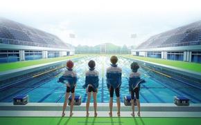 Картинка небо, сияние, перспектива, бассейн, четверо, команда, друзья, трибуны, спортивная одежда, free, nanase haruka, tachibana makoto, …
