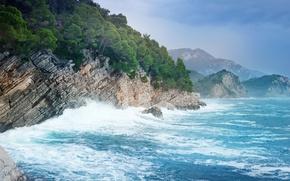 Обои море, горы, скалы, побережье, прибой, Черногория