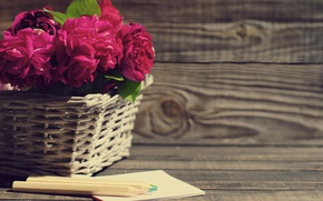 Картинка корзина, розы, розовые, wood, pink, flowers, beautiful