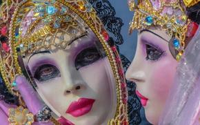 Обои карнавал, маска, зеркало, Венеция