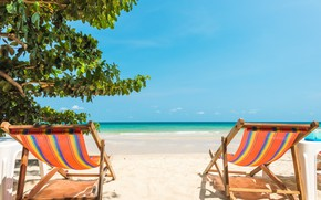 Картинка море, пляж, лето, тропики, Природа, лежаки, голубая вода