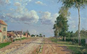 Обои Камиль Писсарро, Дорога в Версаль. Рокканкур, пейзаж, дома, улица, картина