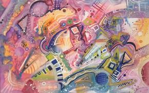 Картинка волшебство, масло, Рисунок, пастель, маркеры, гуашь, акрил, красочность, гель, Абстракционизм, Лена Роговая, бумага для пастели. …