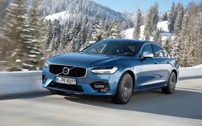 Картинка Volvo, Голубой, Автомобиль, Design, Металик, S90, Worldwide, 2016-17