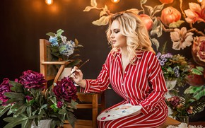 Картинка девушка, цветы, настроение, палитра, кисть, художница, Георгий Дьяков
