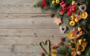 Картинка украшения, ягоды, шары, яблоки, елка, Новый Год, печенье, Рождество, сердечки, фрукты, орехи, Christmas, wood, hearts, …