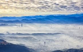Картинка город, туман, утро, Taipei