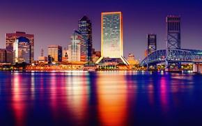 Обои bridge, architecture, skyscrapers, cityscape, city, lights, Tampa, buildings, Florida, water, night, United States of America, ...