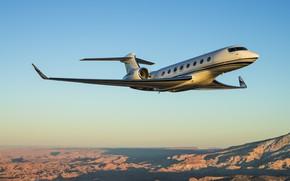 Обои самолёт, небо, бизнес, G650, джет, Aerospace, горы, полёт, Gulfstream