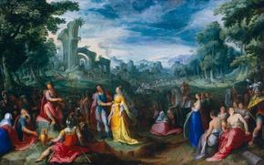 Картинка масло, картина, медь, мифология, Великодушие Сципиона, Карел ван Мандер I