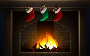 Картинка Минимализм, Огонь, Новый Год, Рождество, Праздник, Настроение, Камин, Носки