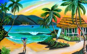 Картинка пляж, пальмы, рисунок, картина, девочка, домик, живопись, painting, Robin Boney