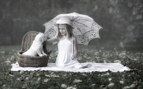 Картинка зонт, девочка, щенок