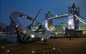 Картинка мост, огни, Англия, Лондон, Темза, Tower Bridge