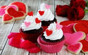 Картинка розы, печенье, красные, love, крем, hearts, valentine's day, глазурь, кексы, rockvillephoto