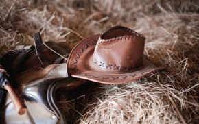 Картинка leather, straw, Cowboy hat