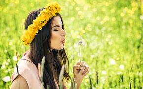 Картинка поле, лето, девушка, одуванчик, модель, макияж, венок, Iulia Nemchinova
