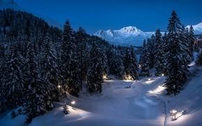 Обои зима, снег, горы