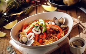 Картинка лайм, овощи, креветки, макароны, кальмары